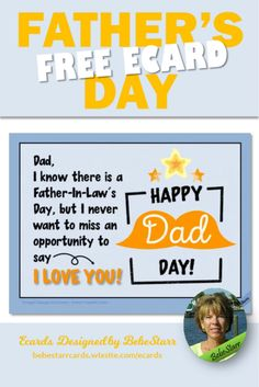 Don't wait for Father-In-Law's Day. Send him a special ecard on Father's Day to say I Love You! Ecards are free to send and fun to receive. | Ecard | Father's Day | To Father-In-Law | bebestarrcards.wixsite.com/ecards You Are The Father, My Father, Fathers Day Ecards, Say I Love You, My Love, Free Day, Happy Day, Law, Sayings