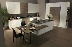 Kitchen Room Design, Modern Kitchen Design, Home Decor Kitchen, Home Kitchens, Kitchen Island Dining Table, Open Plan Kitchen Dining Living, Kitchen Island Placement, Küchen Design, Interior Design