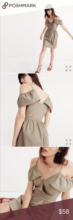 • MADEWELL Khaki Cold Shoulder Ruffle Dress • PRODUCT DETAILS A pretty ruffled take on a cold-shoulder dress. Made of crisp cotton khaki, it's the one you'll want to wear every last warm day (hello, rooftop hangs).  * Waisted. * Cotton. * Machine wash. * Import. * ItemG7782. * Size 6.  Brand New With Tags!  Photos from Madewell.com Madewell Dresses