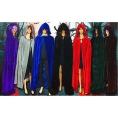 Women's Hooded Men Gothic Cloak Witch Robe Cape Halloween Cosplay Costume | eBay