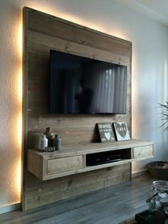 pallet wall living room with tv - palettenwand wohnzimmer mit tv pallet wall living room with tv - Corner pallet wall - Planter pallet wall - pallet wall Grey Tv Wall Design, House Design, Wall Behind Tv, Tv Stand Designs, Muebles Living, Tv Wall Decor, Wall Decorations, Diy Casa, Living Room Tv