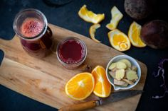 his Beet, Orange, Carrot, & Ginger Juice is a tasty one. Not only is it absolutely beautiful, (hello beet phytonutrients!) but it's bursting with delicious and juicy pick-me-up flavors. Fresh squeezed oranges add the most refreshing taste, while immune-boosting Vitamin A rich carrots and ginger adds the perfect digestive boosting powers and spicy kick. Juicer Pulp Recipes, Healthy Juicer Recipes, Ginger Juice, Carrot And Ginger, Vegetable Juicer, Cucumber Juice, Wheat Grass, Beets, Carrots