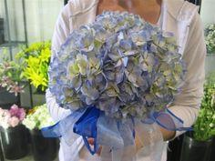 [Blue Hydrangea Wedding Bouquet]