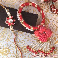 Preety Rose Bunch Dangler Bangle Lumba n Rakhi Silk Thread Bangles, Thread Jewellery, Funky Jewelry, Hand Jewelry, Gift For Raksha Bandhan, Quilling Rakhi, Rakhi Bracelet, Gota Patti Jewellery, Handmade Rakhi Designs