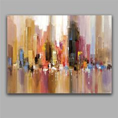Portfolio Canvas Decor Large Printed Canvas Wall Art Painting, 30 by City Spree, Framed and Stretched Ready to Hang ❤ Portfolio Canvas Décor Abstract Oil, Abstract Paintings, Painting Prints, Modern Paintings, Painting Canvas, Abstract Canvas, House Painting, Oil Paintings, Long Painting