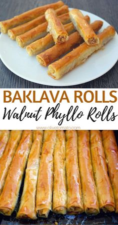 From- Baklava Rolls Walnut phyllo rolls. If you love baklava, you can make this easy, vegan, healthier version at home. Walnuts wrapped in phyllo and drizzled with syrup is a perfect dessert any time of the day. Delicious Desserts, Yummy Food, Tasty, Kolaci I Torte, Cooking Recipes, Healthy Recipes, Cooking Ham, Cooking Fish, Chickpea Recipes