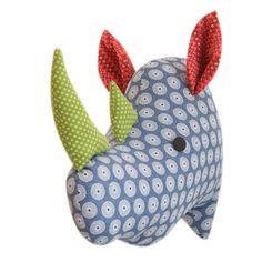 'Naka the Rhino' wall trophy by HankiDori, made with DaGama Shweshwe fabrics like the colours Fabric Animals, Plush Animals, Rhino Animal, Rhino Art, Save The Rhino, Baby Room Decor, Baby Rooms, Faux Taxidermy, Animal Heads