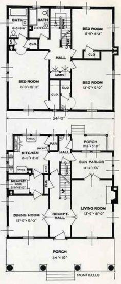 1926 standard house plans the milton retro house plans for Monticello house plans
