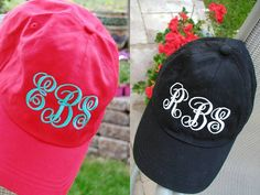 Monogrammed Baseball Cap in Bright Colors.