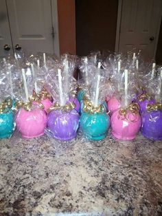 peacock party candy apples