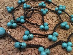 Cluster 4mm BLUE Magnesite beaded crocheted by wandandwear on Etsy, $27.95
