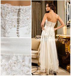 Wedding Dress Sheath Column Asymmetrical Tulle Strapless Scalloped Edge With Beading Appliques - USD $ 99.99