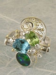 Follow us, Join us on Facebook, and visit http://www.designerartjewellery.com, Gregory Pyra Piro One of a Kind Handmade Jewellery in London in Silver and Gold, Bespoke Jewellery with Semi Precious Stones, #Peridot and Blue Topaz #Ring Pendant 7362