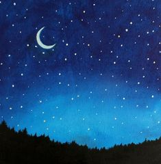 Night Sky Painting Kids Wall Art Nursery Decor by SunlitCo: