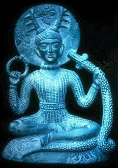 This odd blue man is Cernunnos, the Celtic (Gaul) god of fertility, wealth/abundance/prosperity, and the underworld.