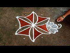 Padi Kolam, Kolam Rangoli, Rangoli Designs Flower, Simple Rangoli, Drawings, Easy, Beautiful, Youtube, Sketches