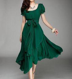 Tour de femmes vert couleur Jade longue jupe de par colorfulday01, $79.99