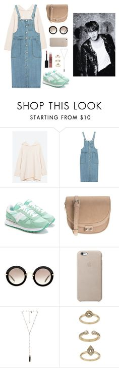 """Visiting Jin at the dorms"" by got7outfits ❤ liked on Polyvore featuring Chicnova Fashion, Saucony, Parfois, Miu Miu, Natalie B, Topshop and Maybelline"
