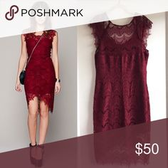 "Free people lace dress size L Free people ""Intimately"" peekaboo lace dress size large - deep, dark red in color. Worn only once! Excellent condition, no flaws to note.  Length: 46"" from shoulder to hem                   Bust: 40""                                                          Waist: 34"" Free People Dresses"