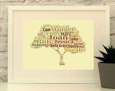 Family Tree Print, Personalised, Custom, Print, Wall Art, Family Tree, Typographic Print, Name art, Family, Wedding anniversary, Mothers Day