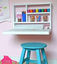 Flip Down Wall Art Desk   DIY Wall Organizer Ideas   Click for 25 DIY Wall Storage Ideas