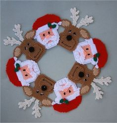 Plastic Canvas Christmas Santa and Reindeer Wreath