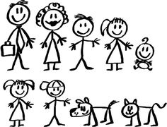 Stick figure family, instead of a decal on my car of my family I want it as a tattoo on the back of my shoulder