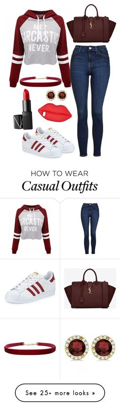"""Red Casual"" by bokwitmebrunz on Polyvore featuring WithChic, Topshop, Humble Chic, Allurez, Lulu Guinness, adidas, Yves Saint Laurent and NARS Cosmetics"