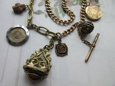 Victorian Fob Charm necklace Antique Chain by AndOnToWillow