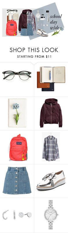"""""""school day"""" by asmallant ❤ liked on Polyvore featuring Mark & Graham, Tommy Mitchell, H&M, JanSport, Madewell, Miss Selfridge, Loeffler Randall, The Sak, Kate Spade and Bobbi Brown Cosmetics"""