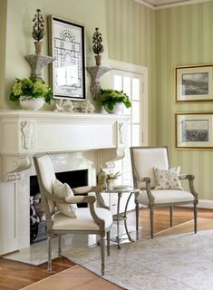Garden Plan  In her second home in Carolina, designer Lillian August hung a charming old garden plan above the fireplace mantel in the living room.