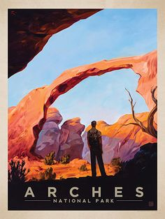Arches National Park: Landscape Arch - Anderson Design Group has created an award-winning series of classic travel posters that celebrates the history and charm of America's greatest cities and national parks. Founder Joel Anderson directs a team of talented artists to keep the collection growing. This oil painting by Kai Carpenter celebrates the majestic beauty of Arches National Park.