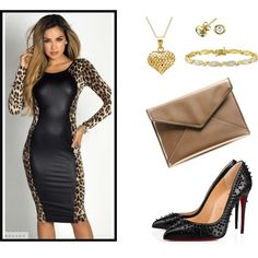 An outfit inspired by 'Modern Family's' Gloria Delgado-Pritchett (Sofia Vergara). Items by: Rebecca Minkoff, Christian Louboutin, and more!