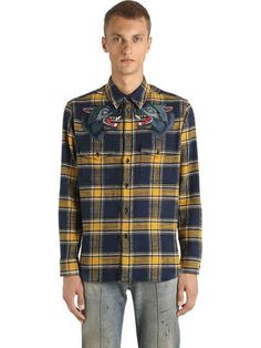 4138a7655 GUCCI - WOLF PATCHES ON COTTON FLANNEL SHIRT - SHIRTS - BLUE/YELLOW - LVR