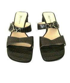 6894bcc6550f0 Anne Klein Sandals Size 7.5 Brown Crocodile Leather Slip On Strap Open Toe   AnneKlein