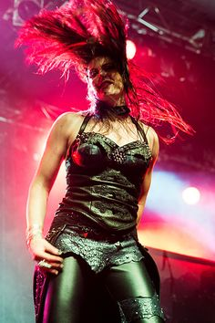 Floor Jansen with Nightwish live in Australia 2013, wearing my custom made studded black and blue leather corset, overskirt and pants. Photo: Serena Ho