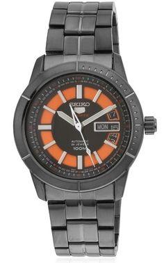 Montre Homme Seiko 5 Sports SRP345J1, bracelet et boîtier acier, cadran noir et orange, mouvement automatique 4R36.