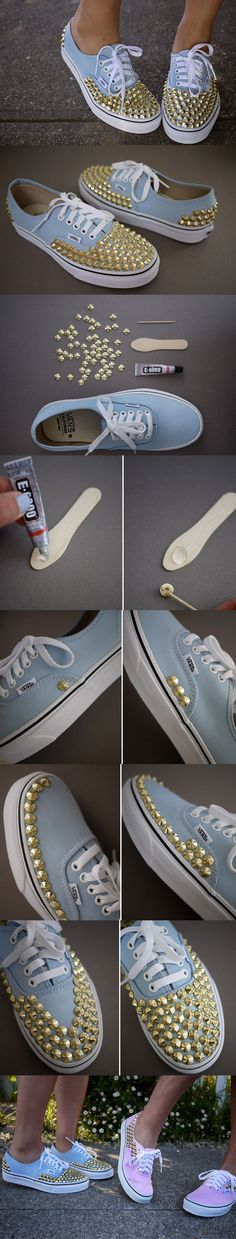 diy studded sneakers Cute Ideas for DIY Girly Sneakers Shoe Crafts, Clothes Crafts, Diy And Crafts, Shoe Makeover, Studded Sneakers, Studded Vans, Diy Accessoires, Do It Yourself Fashion, Diy Clothing