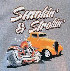 2ab1391d Smokin and Strokin Hot Rod Adult Unisex Long Sleeve Car T Shirt 17363