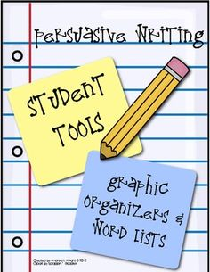 (8 Pages)  This set of persuasive writing tools includes a simple organizational planning tool, a letter template for oral rehearsal or note taking, and word lists related to the persuasive genre.  $1.00