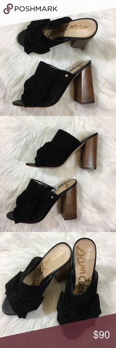 Sam Edelman Black Bow Mules Block Heel Sam Edelman Black Mules. Perfect block Wooden heel to make any outfit casual and cute. Thick heel for comfort, perfect with jeans and a leather jacket!  CLD2600 Sam Edelman Shoes Mules & Clogs