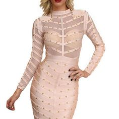 Nail Beaded Mesh Studded Sexy  Knee Length Sleeve Bandage Dress