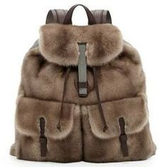 Brunello Cucinelli Mink Fur Backpack, Brown Don't you wanna cuddle with this furry backpack. Who doesn't want lux like this? Fur Fashion, Fashion Bags, My Bags, Purses And Bags, Fur Backpack, Rucksack Bag, Drawstring Backpack, Prada, Diy Sac