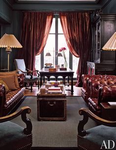 Traditional Office/Library by Penny Drue Baird in Paris, France. Marsala with very dark grey for that Victorian drama. Lovely. More about colour on the blog at YasminChopin.com