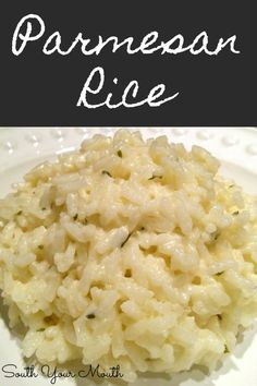 Creamy Parmesan Rice A simple creamy rice recipe with garlic, butter and parmesan cheese. Like risotto but easy! - Creamy Parmesan Rice with garlic, butter and parmesan cheese. Like risotto but easy! Jasmine Rice Recipes, White Rice Recipes, Rice Recipes For Dinner, Easy Brown Rice Recipes, Minute Rice Recipes, Cooked Rice Recipes, Yummy Rice Recipes, Buttered Rice Recipe, Leftover Rice Recipes
