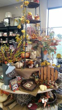 Autumn Display - Oshkosh Murdock St. Autumn Displays, Store Displays, Shop Ideas, Table Settings, Fall, Gifts, Autumn, Presents, Fall Season