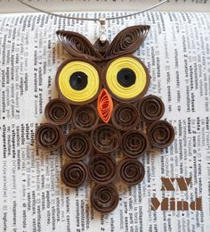 Handmade Brown Paper Owl Pendant by XV Mind - Ciondolo Girocollo Marone Gufo di carta Fatto a mano by XV Mind
