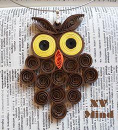 Handmade Brown Paper Owl Pendant by XV Mind - Ciondolo Girocollo Marone Gufo di carta Fatto a mano by XV Mind