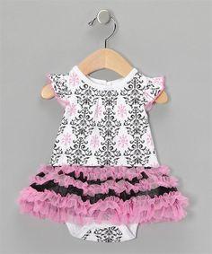 Molly / Gabby - 9M, 24M  Vitamins Baby White Damask Tutu Bodysuit | Vitamins Baby Clothes