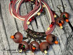 Купить Набор колье и серьги ручной работы ЭШЛИ - бордовый, коралловый, украшения ручной работы